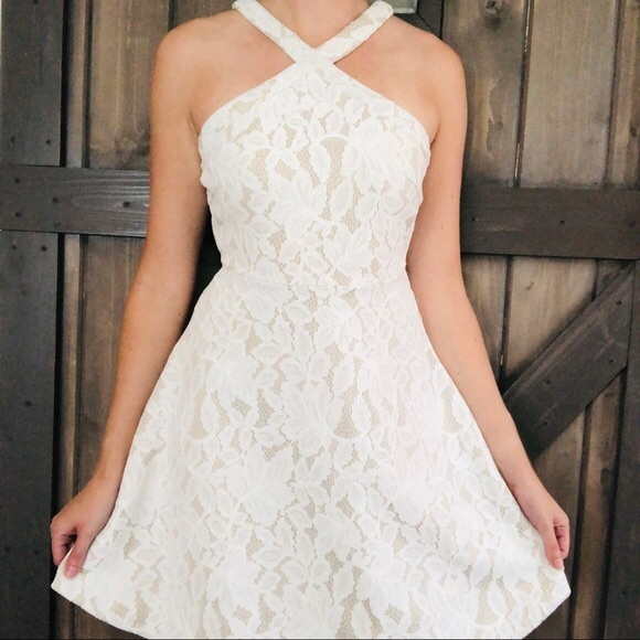 She and Sky Dresses & Skirts - Fit Flare Lace Dress Halter Skater Floral Circle